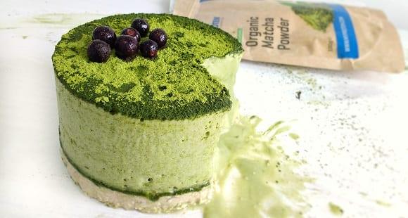 Receta Vegana Fácil | Tarta de Arándanos y Té Matcha