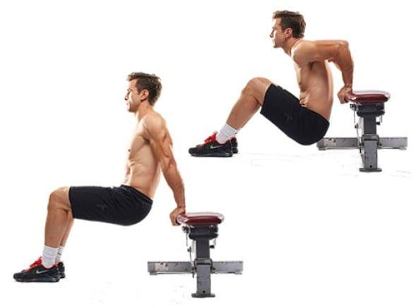 ejercicios de tonificación fondos de tríceps