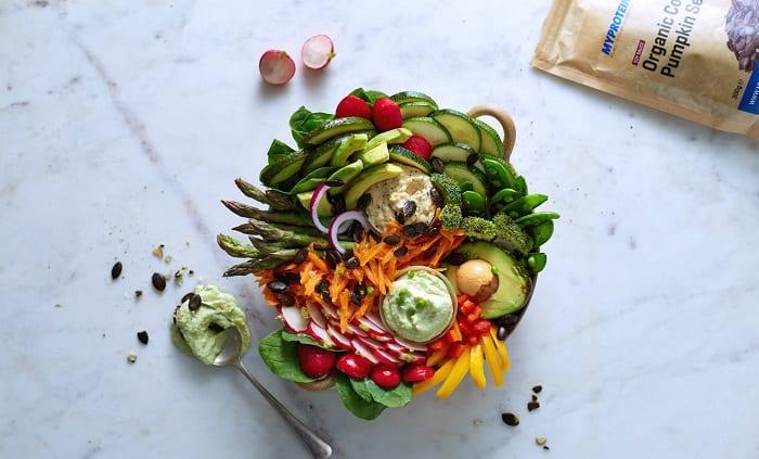 bol de verduras vegano