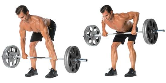 ganhar força muscular remada com barra