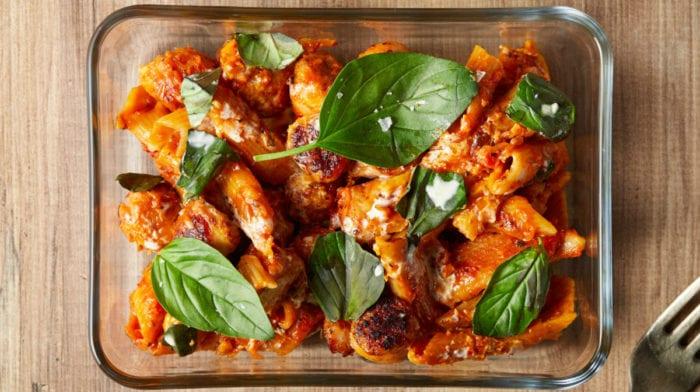 Meal Prep | Receita saudável de massa cremosa com salsicha