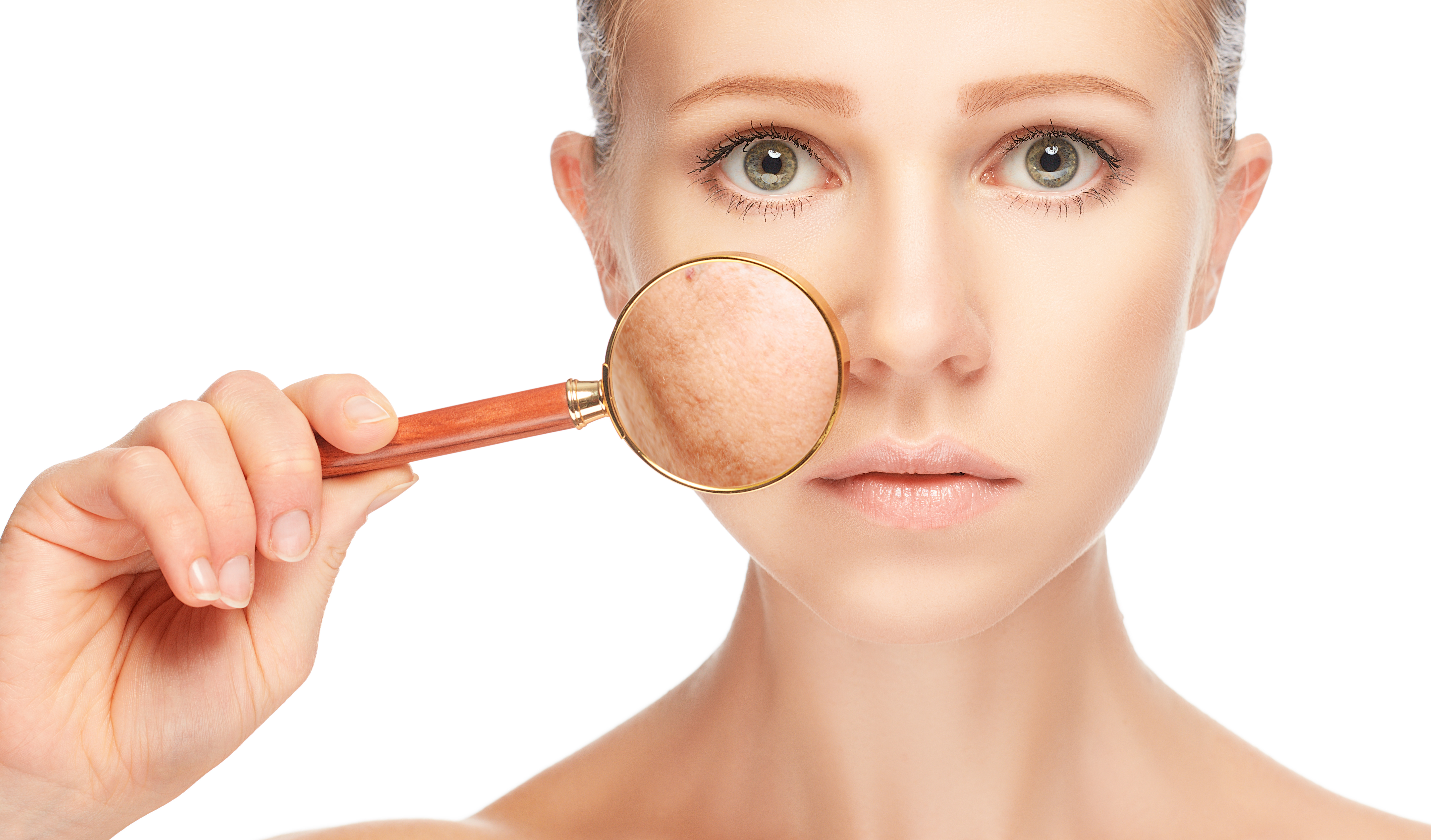 concept skincare. Skin of beauty young woman with magnifier before and after the procedure on a white background