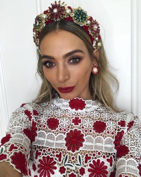 Nadia Bartel Melbourne Cup 2017 makeup look red lipstick
