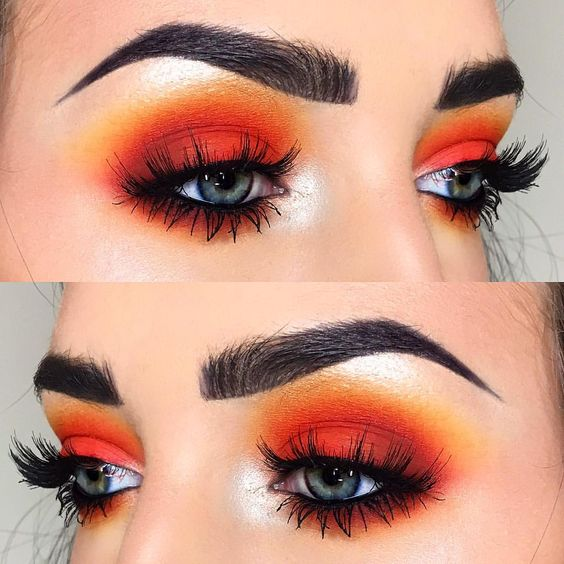 Summer beauty tips bright coloured makeup orange yellow eyeshadow