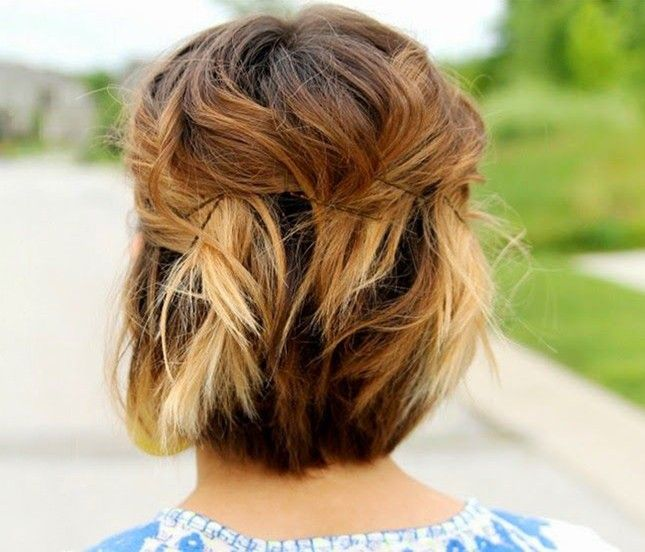 Back to school hairstyles for short hair pinned back waves