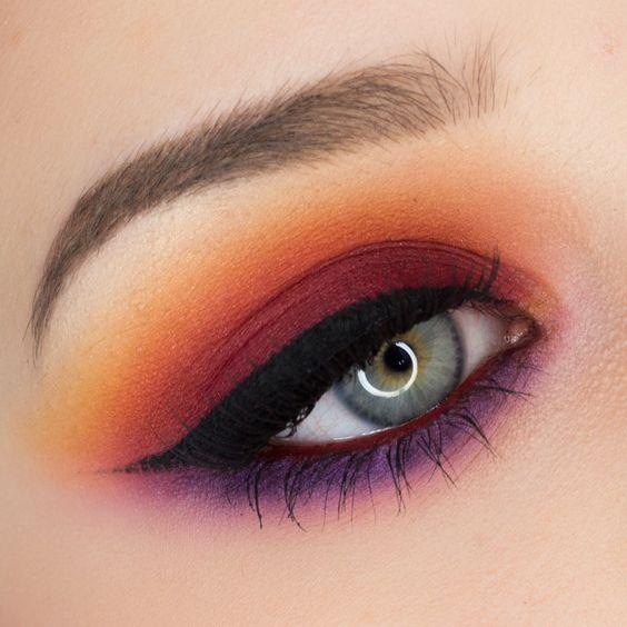 Autumn makeup eyeshadow look Pixi palette