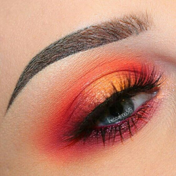 Aries beauty orange red makeup