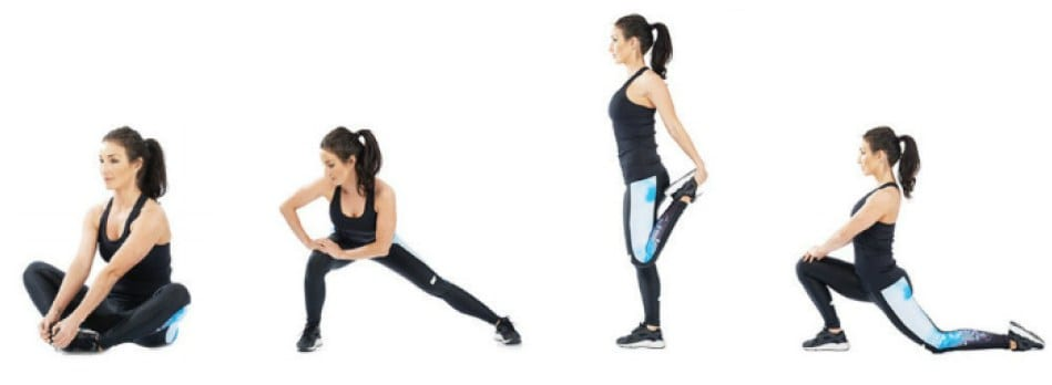 Hip openers, side stretch, quad stretch cooling down