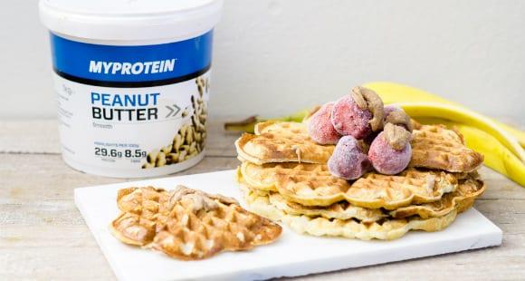 Proteïne wafels met pindakaas