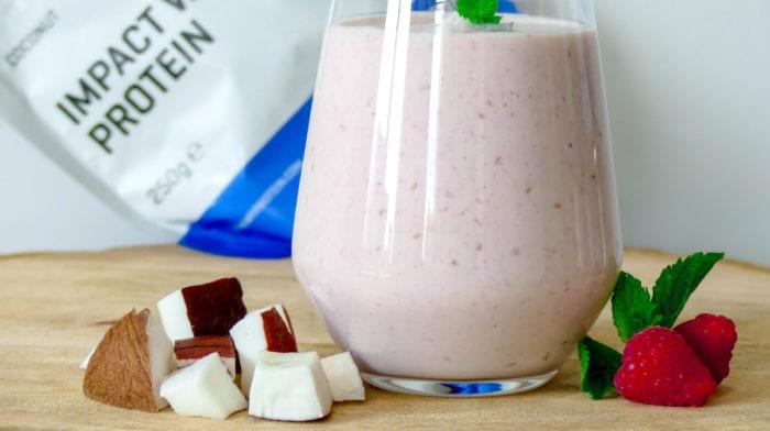 Frambozen kokos milkshake
