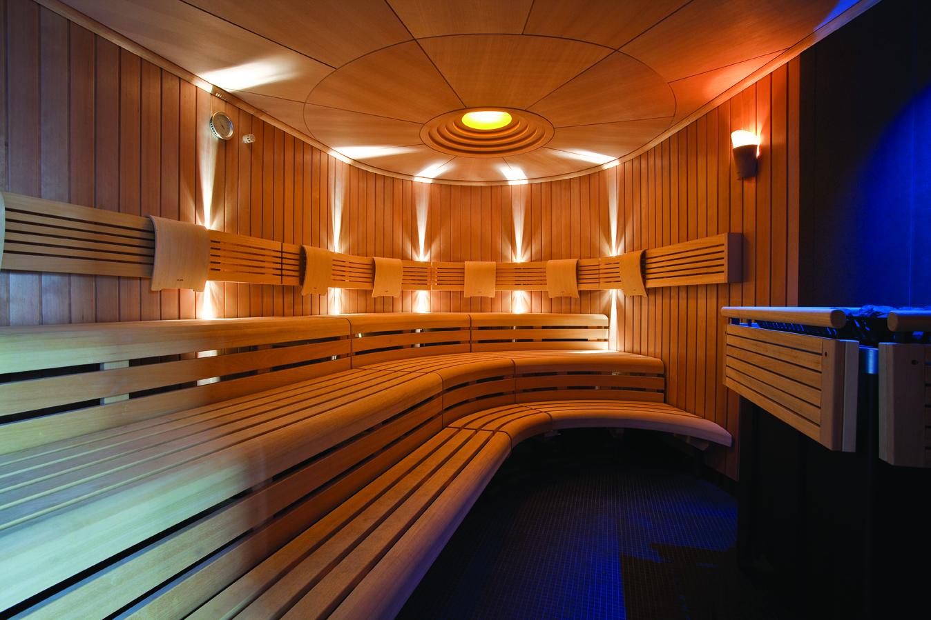 Heated wooden benches in a sauna in spa ESPA Riga