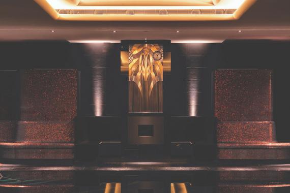 Dark wooden interior of spa ESPA Riga