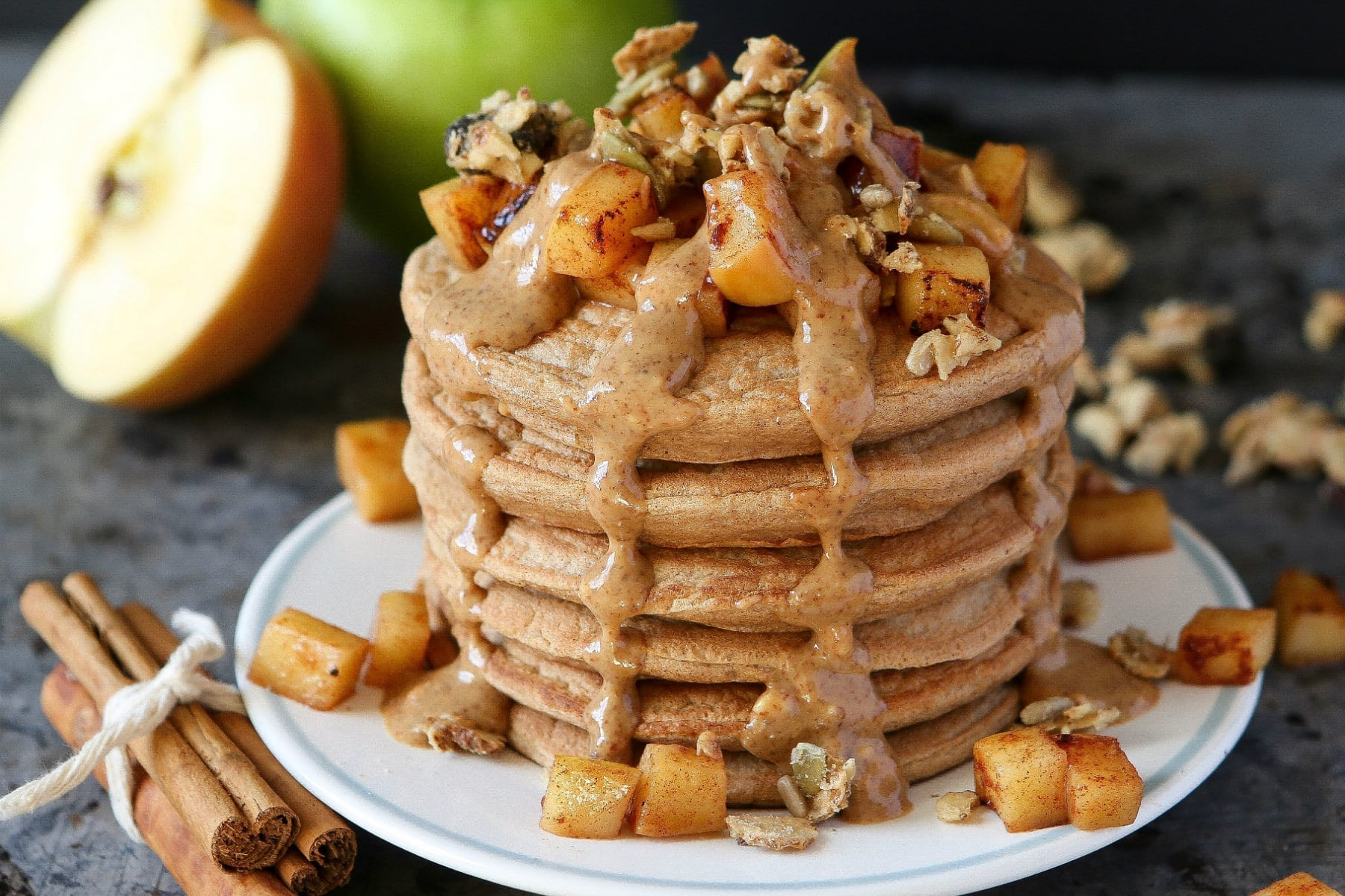 toffee apple protein pancakes