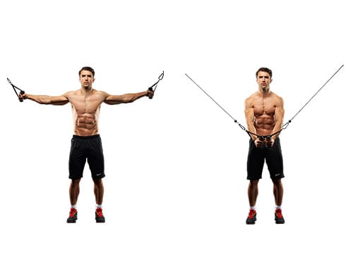 Chest workout cable fly