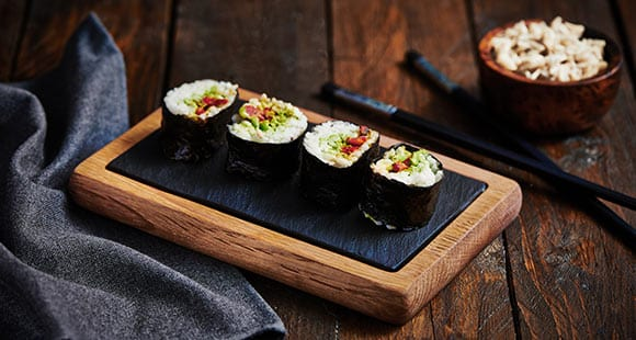 Vegan Sushi | Red Pepper and Mixed Bean Sushi
