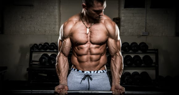 alon gabby bicep curl showing 6 pack abs