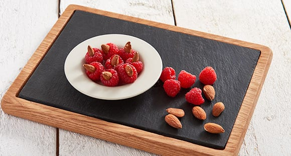 raspberries and almond snacks