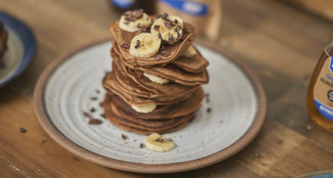 stack of vegan protein pancakes