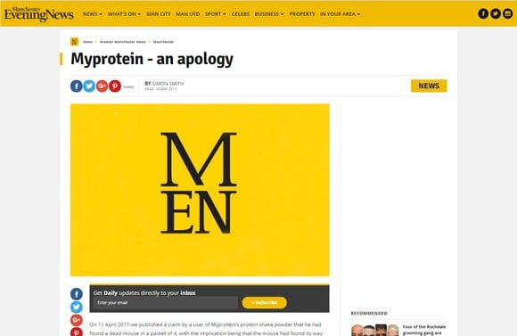 Manchester Evening News Apology to Myprotein