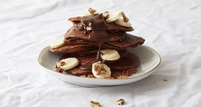 Banana Pecan Protein Pancakes with Gooey Chocolate Sauce