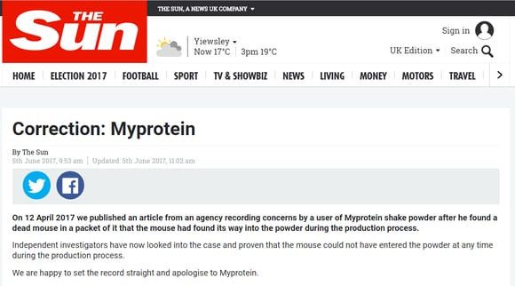 Myprotein Receive Apology Over Fake Media Coverage