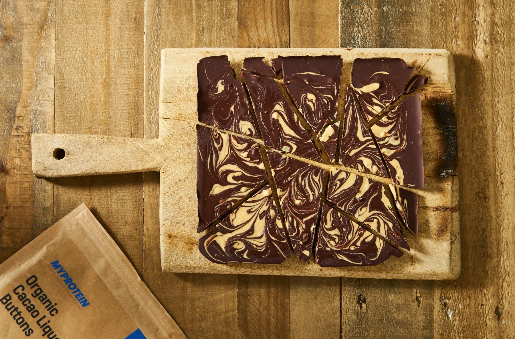 chocolate bark with swirls