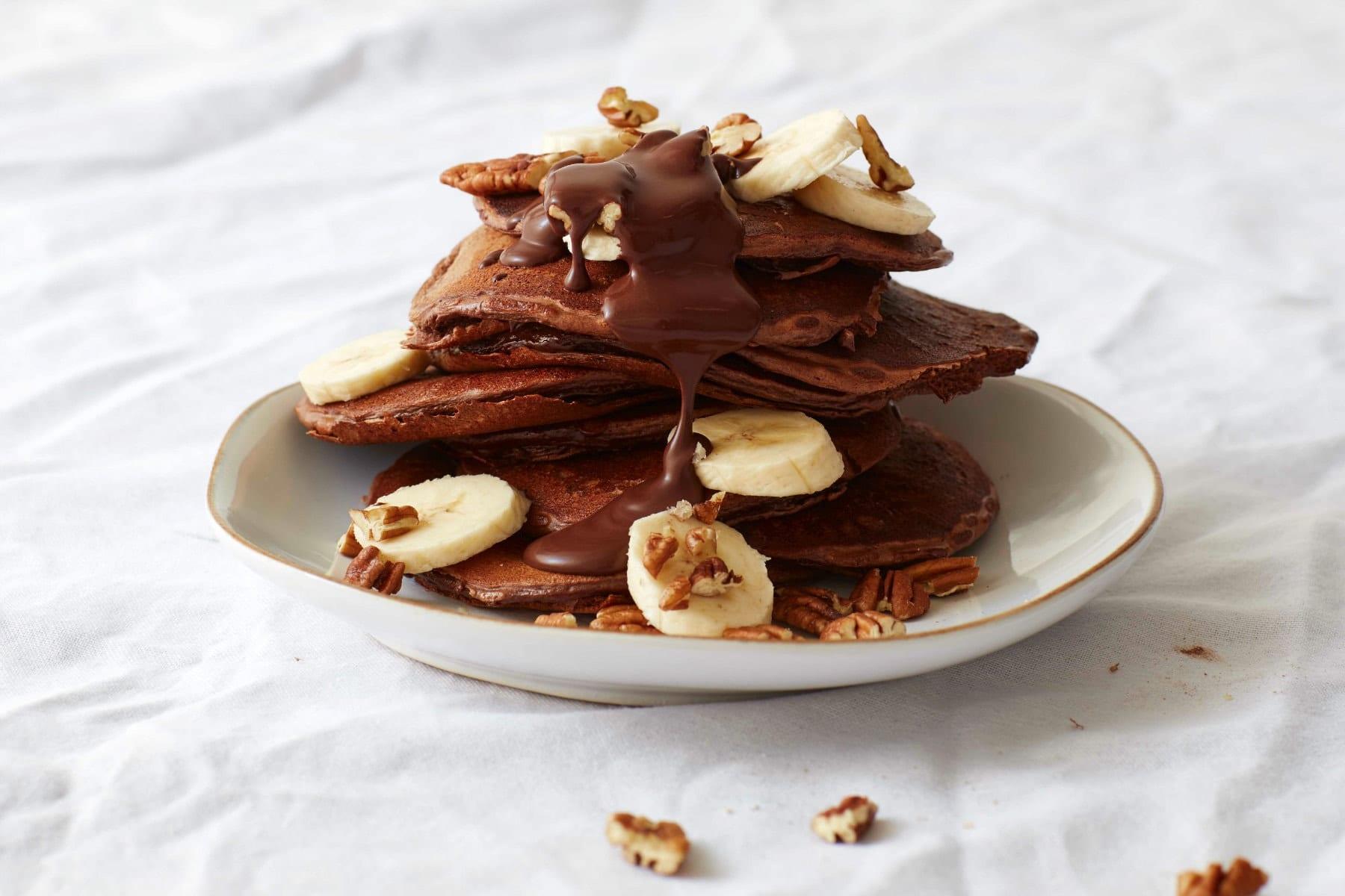 chocolate pecan pancake stack