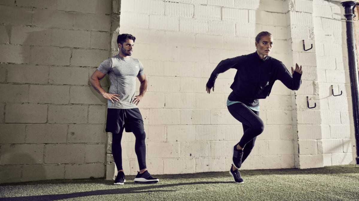 male and female sprinting