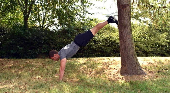 Handstand wall plank