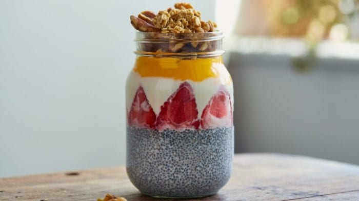 Peach Mango Breakfast Chia Pudding & Liquid Omega