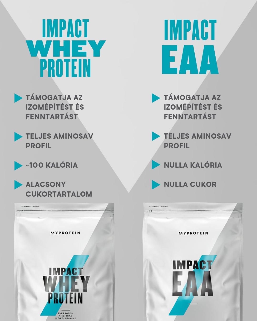 Impact EAA vs Impact Whey Protein osszehasonlitas
