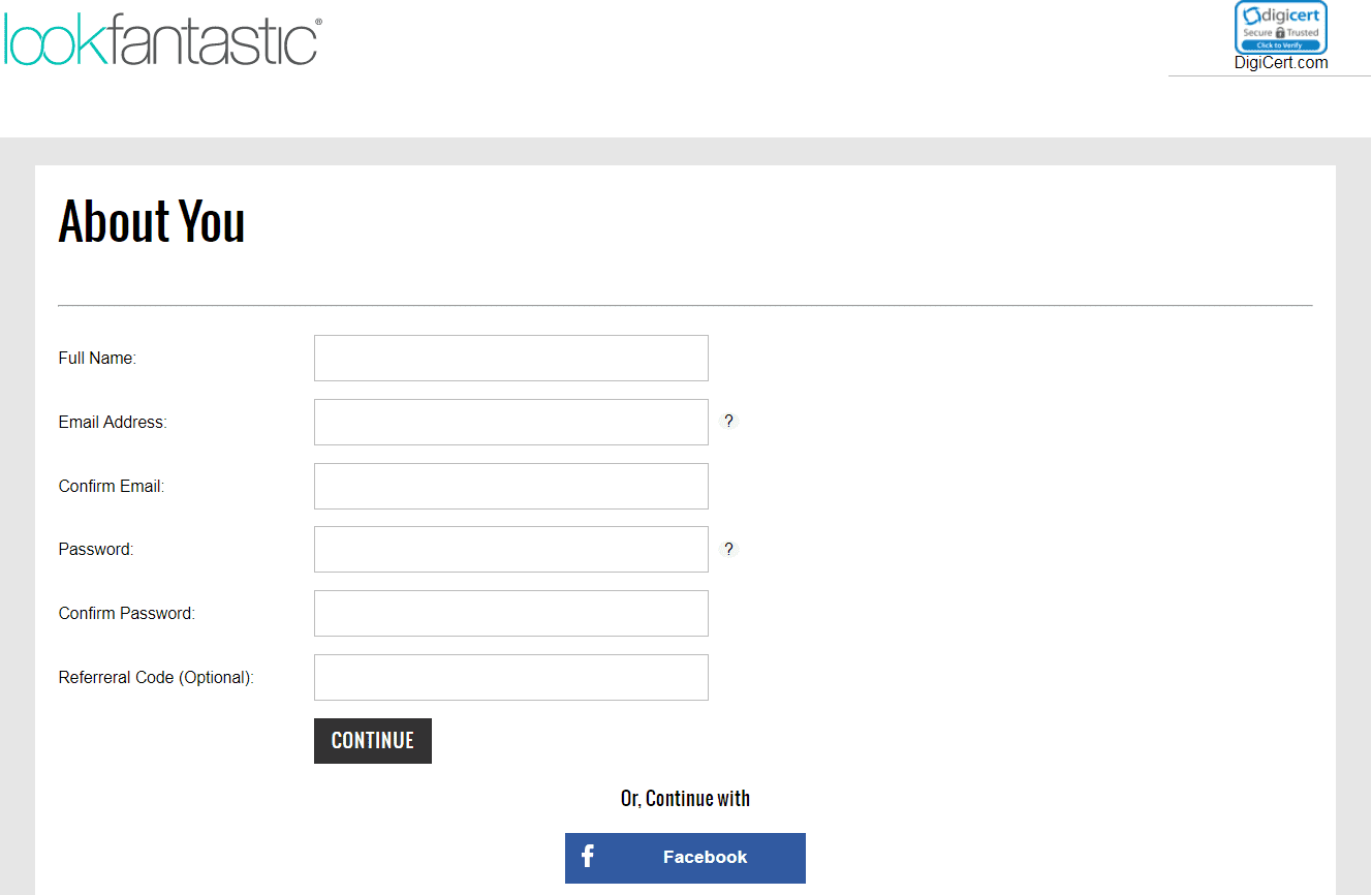 Create an account on Lookfantastic