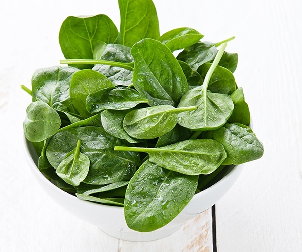 Young spinach in white bowl