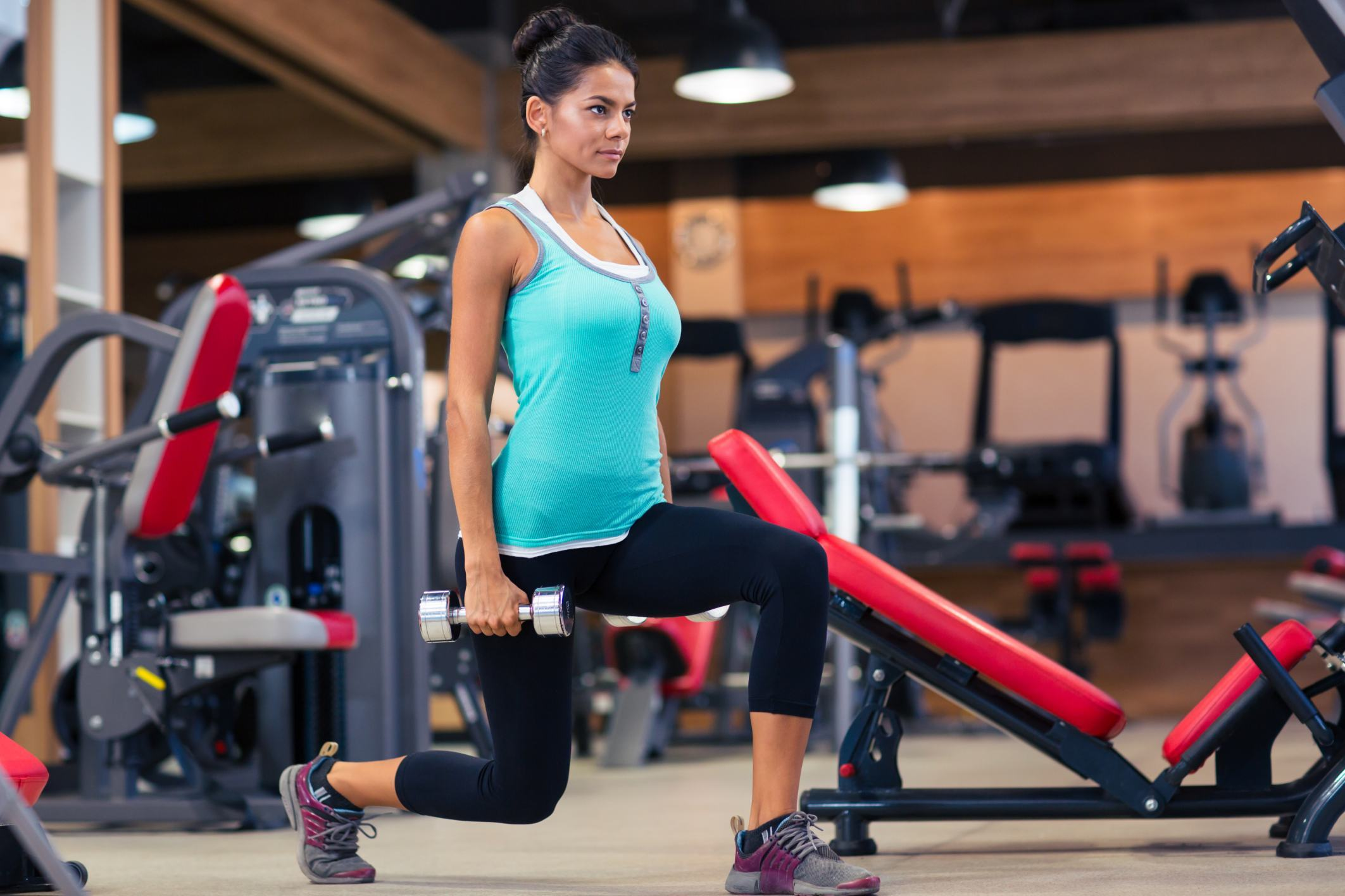 Woman workout with dumbbells