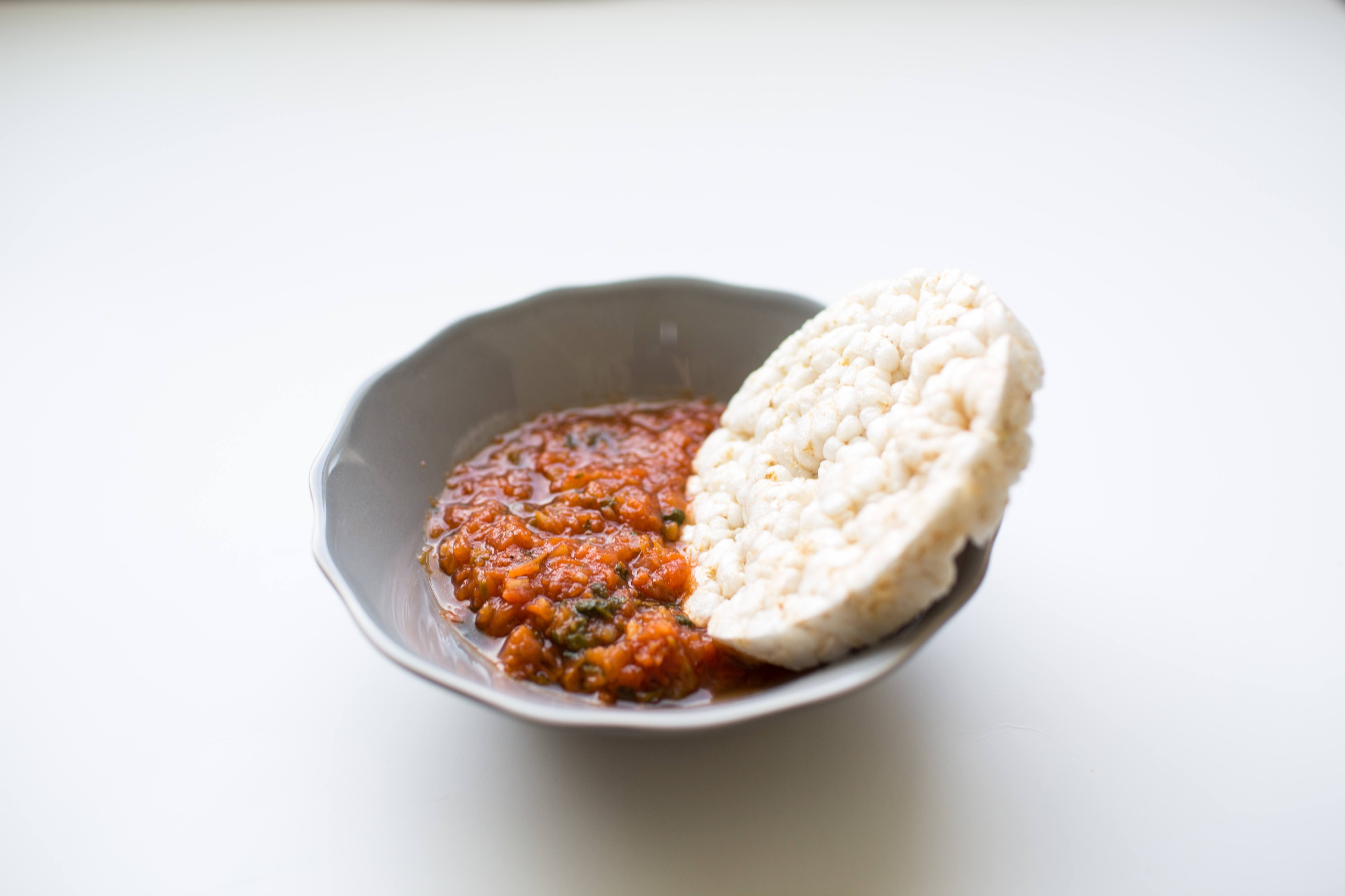 100 calorie snack rice cake and salsa