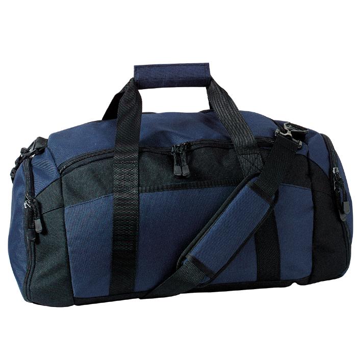 Blue gym duffle bag