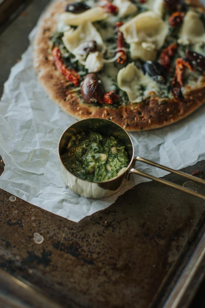 super greens pesto pizza