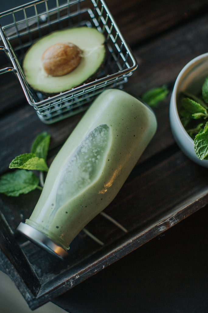 bottle of superfood smoothies containing avocado