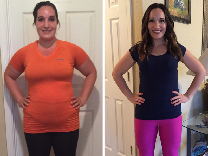 A woman's before and after weight loss transformation