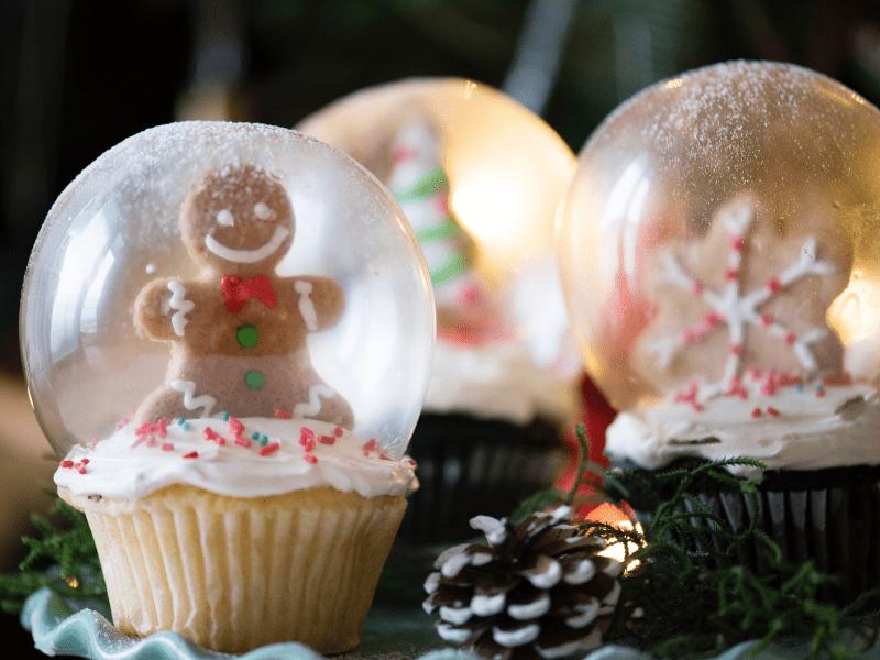 An elaborate Christmas cupcake