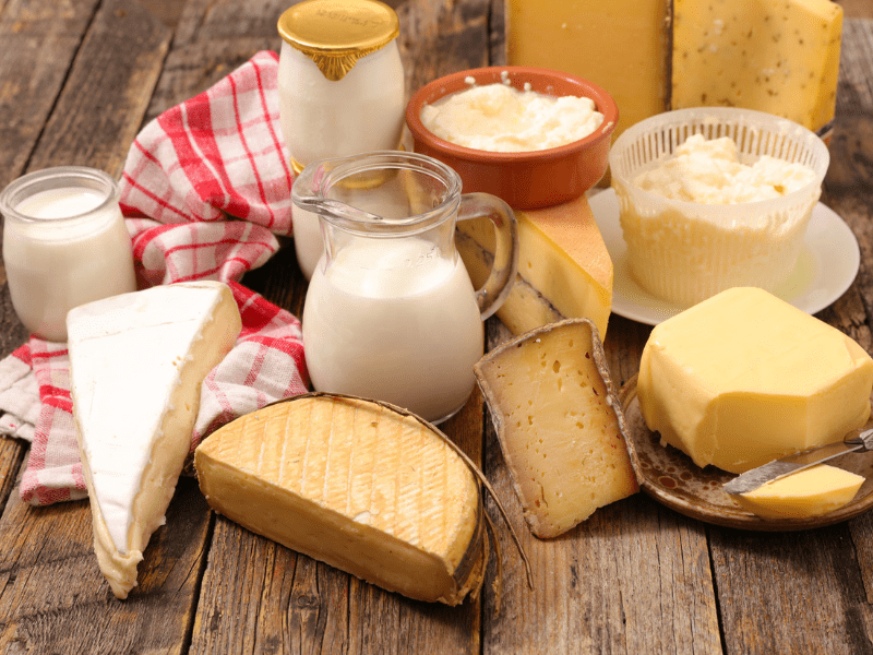 A spread of yogurt, milk, cheese, and other dairy