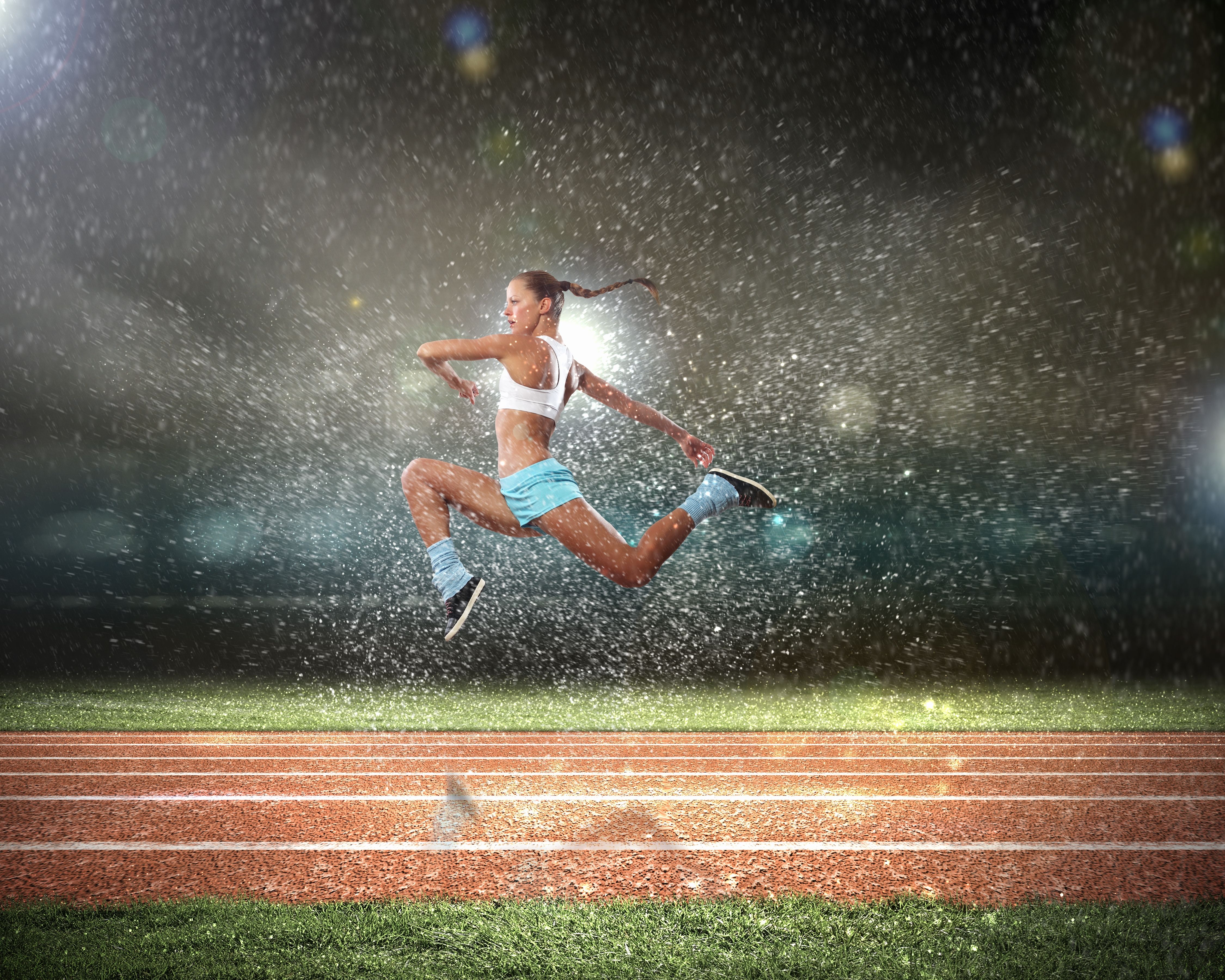 Woman Leaping in the Rain
