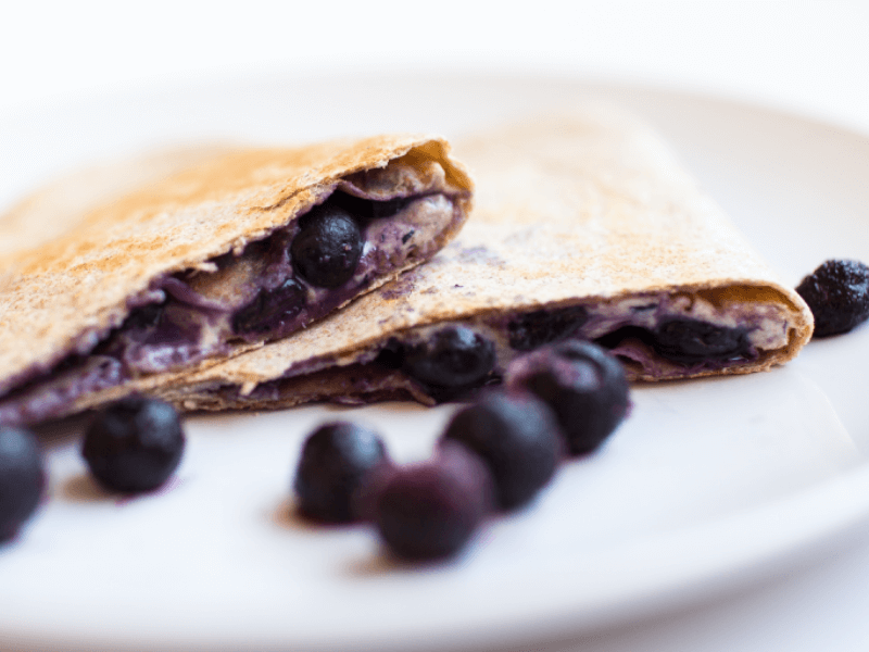 Some healthy high protein blueberry quesadillas
