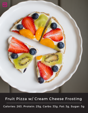 Healthy Fruit Pizza with Cream Cheese Frosting