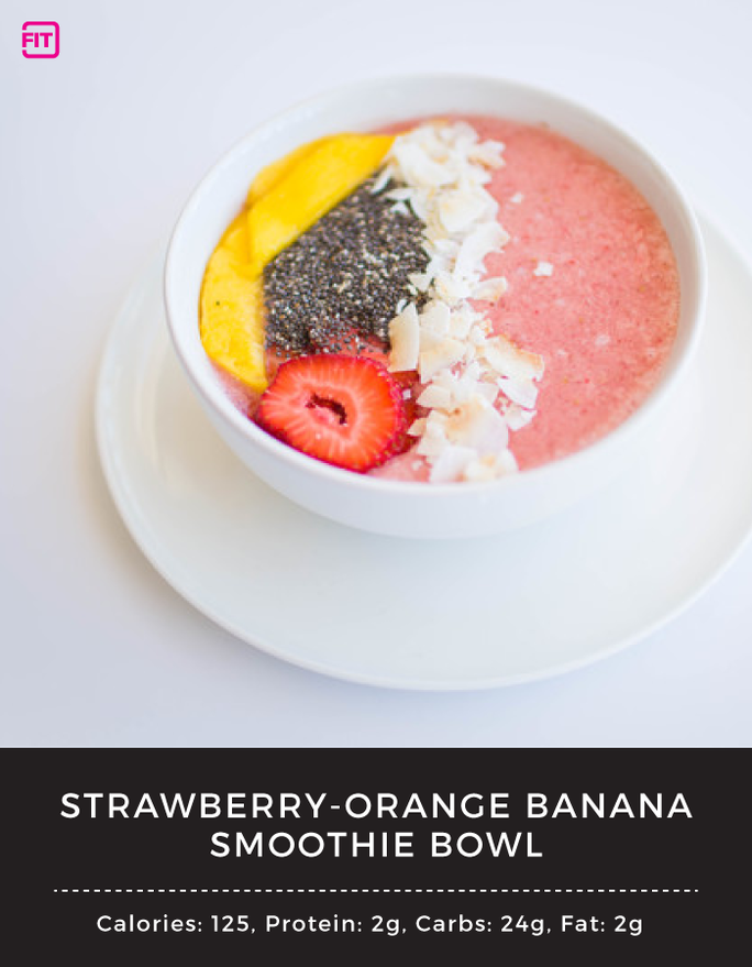 BCAA strawberry orange banana smoothie bowl