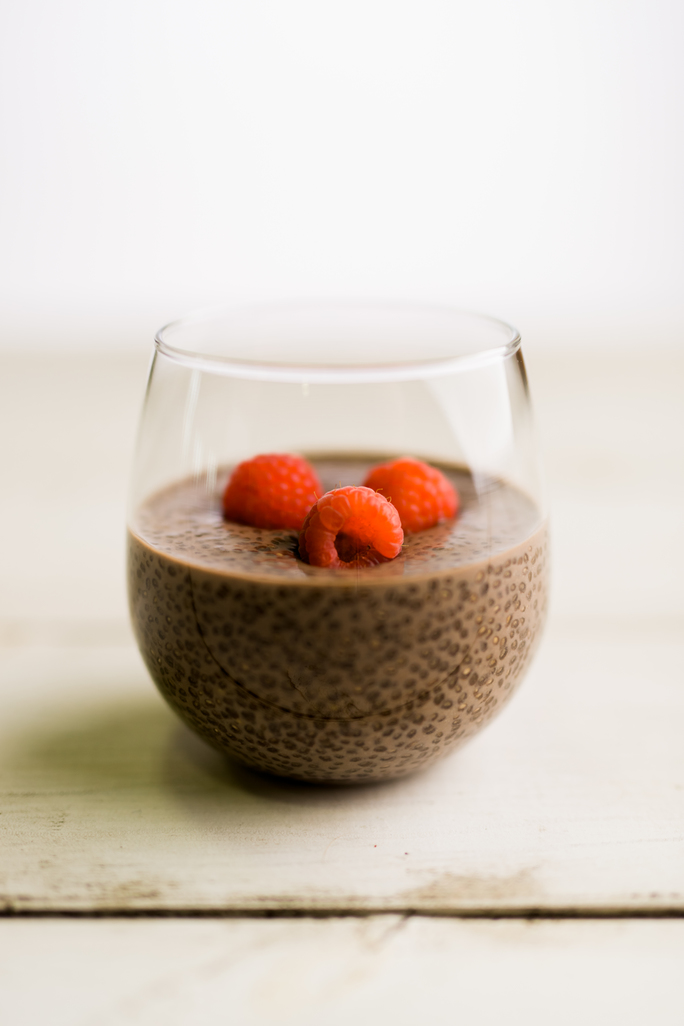 chocolate chia pudding in cup