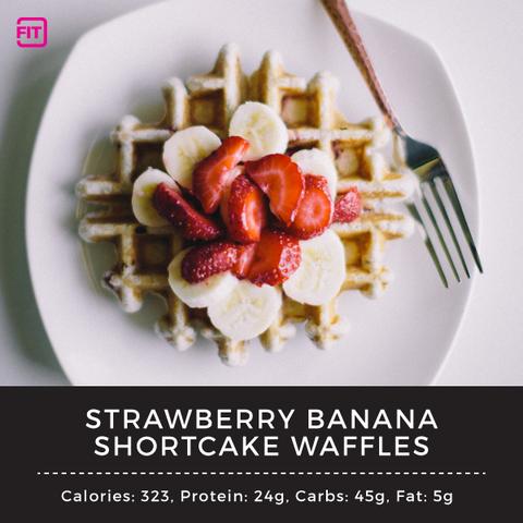 strawberry banana shortcake waffles