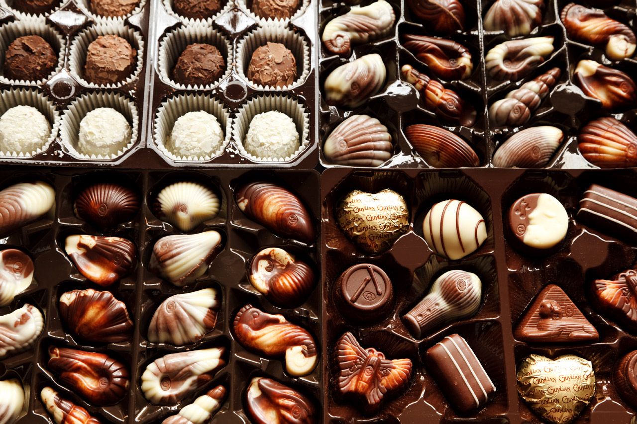 this is a picture of a wide variety of chocolates