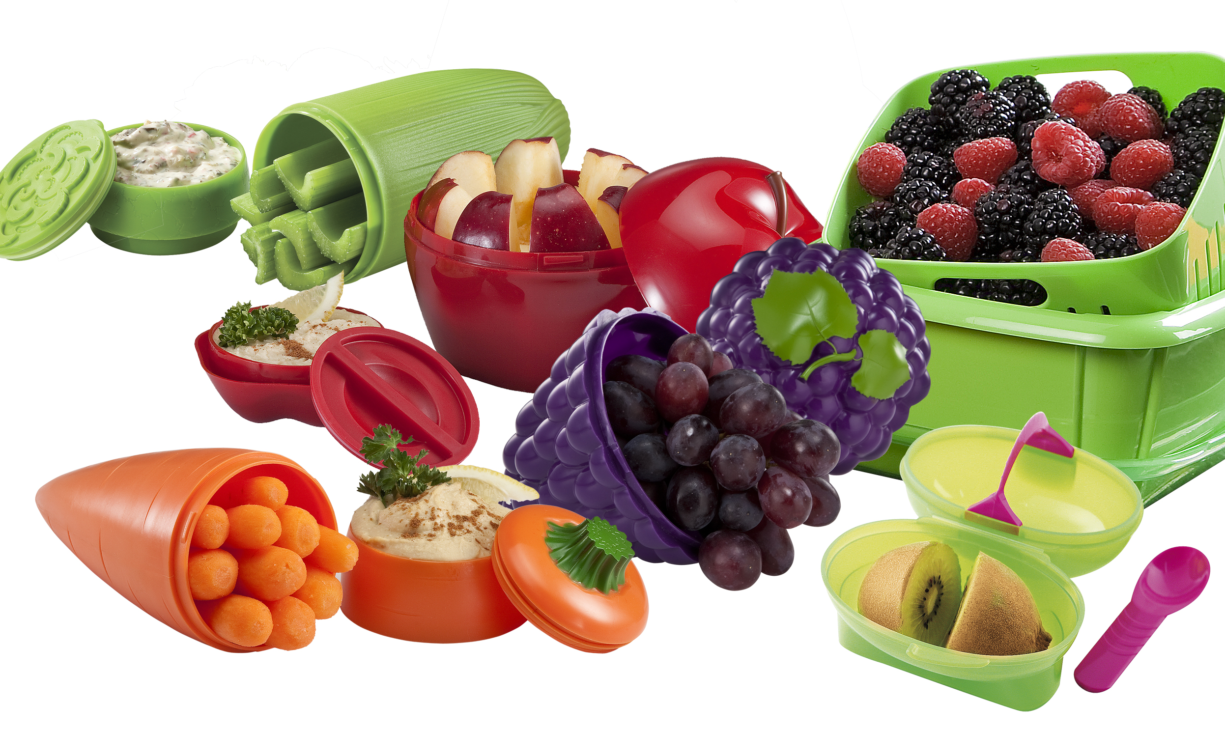 snack containers with fruit and veggies