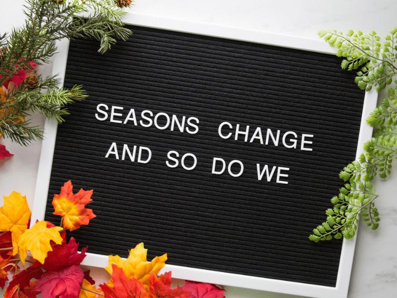A seasonal letter board